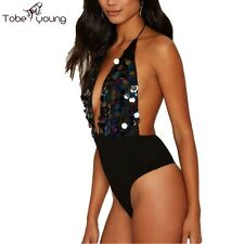 Sexy Women Sequin Backless Bodysuit Romper Jumpsuit Cami Top Party Club Cocktail