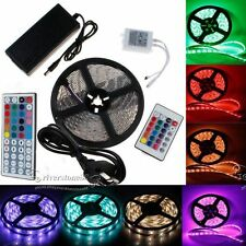5M 3528 5050 RGB Flexible LED Strip 24Key/44Key Remote Power Supply For Xmas