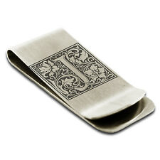 Stainless Steel Floral Initial Monogram Engraved Credit Card Cash Money Clip