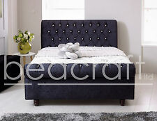 Leather Astral Sleigh Bed Scroll Top Chesterfield Diamond Button Any Colour/Size