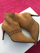 New Womens zipped studded tan ankle suede boots UK sizes 5, 6 & 6 1/2