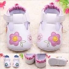 Baby Girl PU Crib Shoes Soft Sole Kids Flower Prewalker Mary Jane Shoes 0-18M