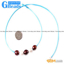 """Fashion Jewelry 9-10mm 5 Pearls Strand Blue Rope Necklace Adjustable Size 17.5"""""""