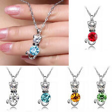 Lovely Cat Crystal Women Girl Silver Plated GIFT Fashion Chain Necklace Pendant