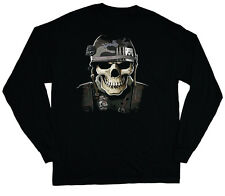 long sleeve t-shirt for men military skull us army navy marines usmc vet veteran