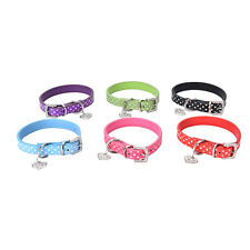 Pet Dog Adjustable PU Leather Polka Dot Rhinestone Buckle Neck Strap Collar WQQ