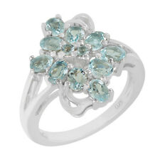 925 silver natural faceted sky blue topaz gemstone oval shape 4x3 mm ring x mas