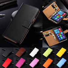 For Nokia Series Flip Card Slot Wallet Cover Genuine Real Leather Phone Case