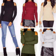 Womens New Sexy Off Shoulder Knit Sweater Jumper Pullover Bodycon Knitwear Tops