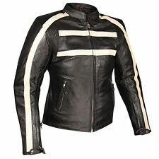 Xelement 117 Womens Black Stripe Armored Thick Leather Motorcycle Jacket