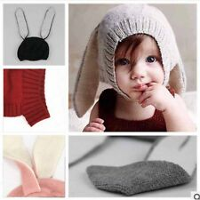 Winter Warm Kids Baby Toddler Knitted Crochet Rabbit Ear Beanie Hat Cap