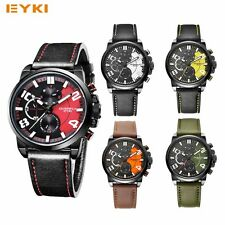 EYKI Luxury Men Analog Quartz Wrist Watch Sport Watches Leather Stainless Steel
