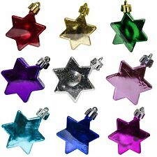 5 Christmas 5cm Star Metallic Hanging Baubles Tree Ornaments Decorations