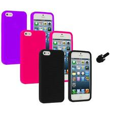 Color Silicone Earth Swirl Rubber Skin Case Cover+Mini Stylus for iPhone 5 5S