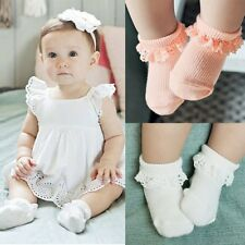 Toddler Newborn Baby Girl Socks Lace Ruffle Trim antiskid Baby Socks Gifts M89