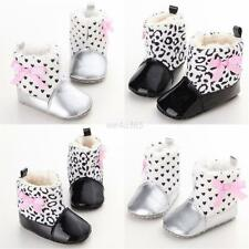 Baby Girls Great Warm PU Padded Shoes Leopard Polka Soft Soled Winter Snow Boot