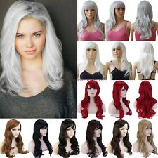 Deluxe Thick Full Head Wig Cosplay Costume Long Curly Straight Party Fancy Dress