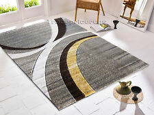 MEDIUM - LARGE THICK HAND CARVED GREY BEIGE YELLOW OCHRE MODERN RUG - CLEARANCE