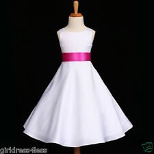 US SELLER WHITE/FUCHSIA HOT PINK FLOWER GIRL DRESS 12M 18M 2 4 6 8 9/10 12 14 16