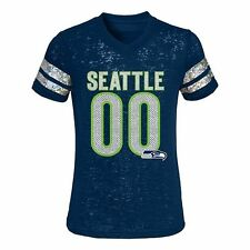 NWT NFL Seattle Seahawks Little Girls Navy Burnout Sparkly Foil Logo Tee: 4-6X