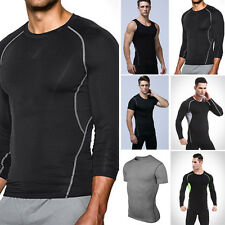 Mens Sports Compression Short Long Sleeve Vest T-Shirt Thermal Athletic Shirt XL