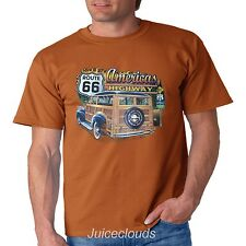 Classic Car T Shirt Americas Highway Route 66 Hot Rod Outlaw Garage Mens