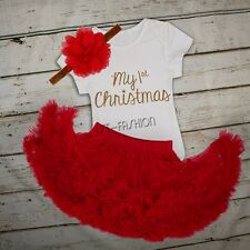 New Infant Baby Girls Christmas Outfit Romper Ruffles Tutu Skirt with Headband