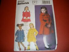 Butterick Child Girls Double Breasted Coat Coatdress Dress Pattern Sz 2-5 or 6-8