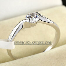 Fashion Rhinestone Solitaire Engagement Wedding Ring 18KGP CZ Crystal Size 5.5-9