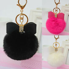 Rabbit Fur Pom Key Chain Bag Charm Fluffy Puff Ball Bow Key Ring Pendant 8 cm