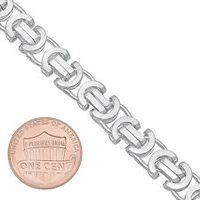 8mm Solid 925 Sterling Silver Flattened Byzantine Link Italian Chain