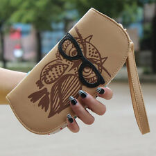 Cute Glasses Owl Long Style Women Lady Phone Card Wallet PU leather Purse clutch