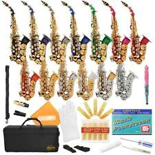 Lazarro® Curved Bb B-Flat Soprano Saxophone 4 Student,School+Case,Kit~14 COLORS
