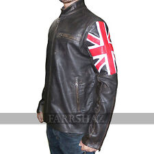 Mens Biker Vintage Distressed Brown Union Jack Cafe Racer Genuine Leather Jacket