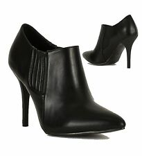 Women Ladies High Heel Pointed Toe Faux Leather Ankle Boots Shoe Black UK 3-8