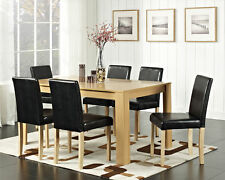 Dining Table and 4 / 6 Faux Leather Chairs Oak / Walnut Furniture Room Set