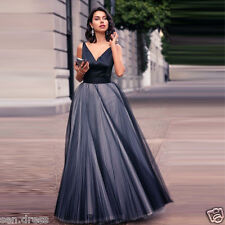 Modest Black Prom Dresses V Neck Long Evening Dresses Pleated Formal Party Gowns