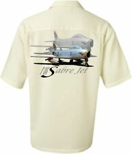Men's Airplane Shirt- Korean War F-86 Sabre Fighter Jet-Aviation Shirt in Ivory