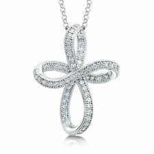 """925 Sterling Silver Cross Crucifix Pendant on Silver Chain 16-20"""" Cubic Zirconia"""