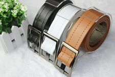Fashion mens womens New Faux Leather edge Sewing thread buckle belt MW