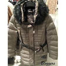 ZARA �� RARE GREY FEATHER DOWN PUFFER QUILTED LONG COAT �� SIZE S �� 8073/239