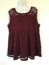 Torrid Floral Burgundy Lace Babydoll Tank Size 2 NWT