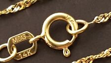 "14 k Yellow Gold  1.3 mm Hollow Singapore Chain Necklace 18"", 20""."