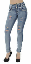 LA9-9A134 – Butt Lift, Levanta Cola, Destroyed, Ripped, Mid Waist, Skinny Jeans