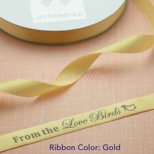 Gold Satin Personalized Ribbons 4 Sizes Craft Bow Party Decor 25/50/100-Yard
