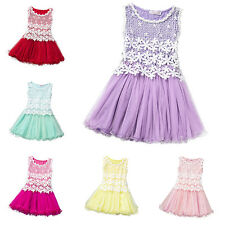 Kids Girl Toddlers Baby Princess Sleeveless Lace Dress Party Tutu Tulle Sundress