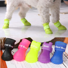 lovely 4pcs/Lot Pet Boots Dog Rain Waterproof Boot Shoes Anti-slip Rubber Shoes