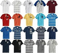 AEROPOSTALE MENS HENLEY T-SHIRT SOLID STRIPED BUTTONS AERO LOGO EMBROIDERED NWT