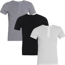 Fashion 100% Cotton Mens Half Sleeve Ribbed Button T-Shirt Slim Fit Casual Shirt