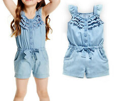 6M-5Y Toddler Baby Girls One-Piece Rompers Shorts Denim Jeans Jumpsuit Playsuits